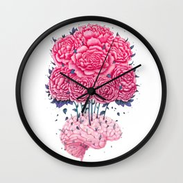 Creative Brains with peonies Wall Clock