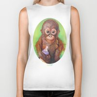 budi satria kwan Biker Tanks featuring Budi the Rescued Baby Orangutan by Alina Bachmann