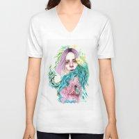 garden V-neck T-shirts featuring Garden  by Veronika Weroni Vajdová