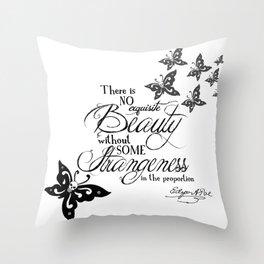 'Strange Skullerflies' -  Quotes - Edgar Allan Poe Throw Pillow