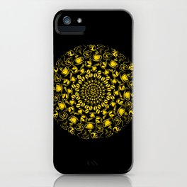 Yellow coffee mandala iPhone Case