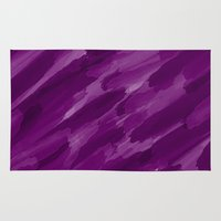 the strokes Area & Throw Rugs featuring Purple Strokes by UMe Images