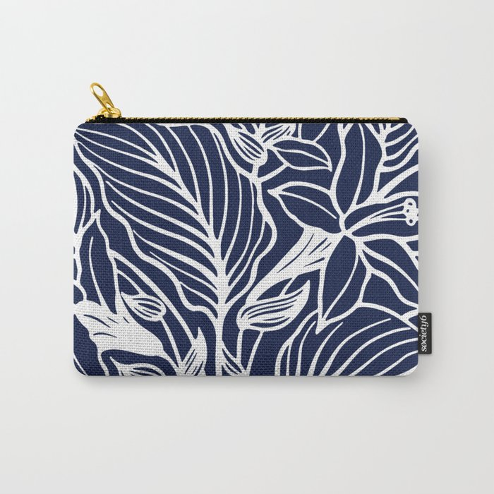 Indigo Navy Blue Floral Carry-All Pouch