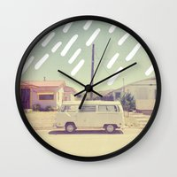 volkswagen Wall Clocks featuring Volkswagen, New Mexico by Anna Dorfman