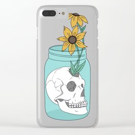 Skull in Jar with Flowers Clear iPhone Case