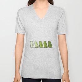 Waddle of Penguins in Green Tones Unisex V-Neck