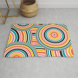 Retro Art, Colourful Prints, Yellow, Pink Teal, Black , Geometric Art Rug