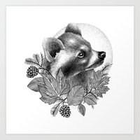 raccoon Art Prints featuring RACCOON by Thiago Bianchini