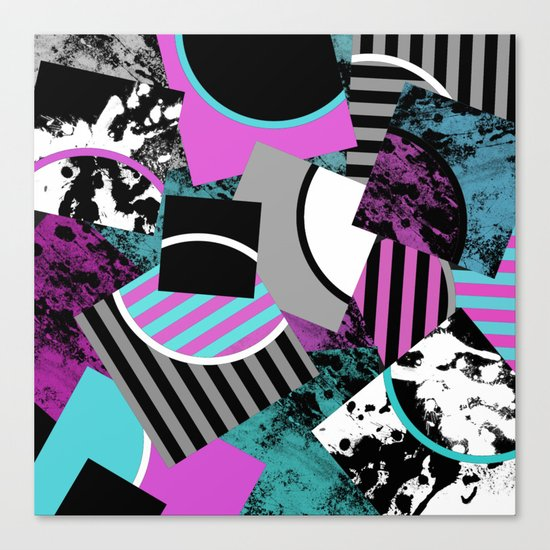 Cluttered Sqaures - Abstract, geometric, stripes, pink, cyan, blue, textured, black, white, arcs Canvas Print