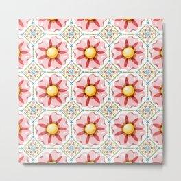 Pink Flower Boho Chic Metal Print