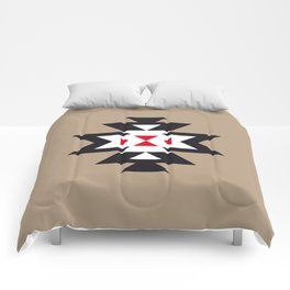 Navajo Aztec Pattern Black White Red on Light Brown Comforters