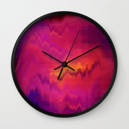 Pink Glitch abstract Wall Clock