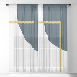 Fusion Minimalist Geometric Abstract in Mustard Yellow, Navy Blue, and White Sheer Curtain