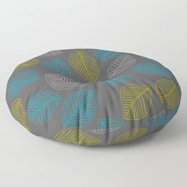 Mid Century Modern Falling Leaves Turquoise Chartreuse Gray Floor Pillow