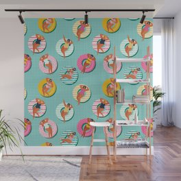 Summer gils on inflatable in swimming pool floats. Wall Mural