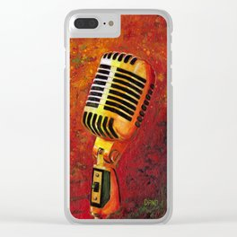 Vintage Microphone Clear iPhone Case