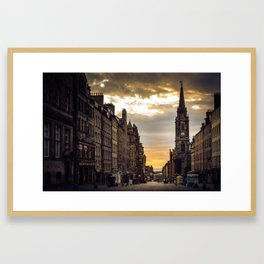 Royal Mile Sunrise in Edinburgh, Scotland Framed Art Print