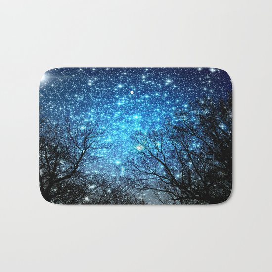 Black Trees Blue SPACE Bath Mat