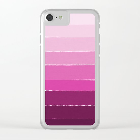 Ombre pink gradient color pantone trendy beach summer happy face Clear iPhone Case