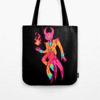 satan Tote Bags featuring Satan by Spacepegasus