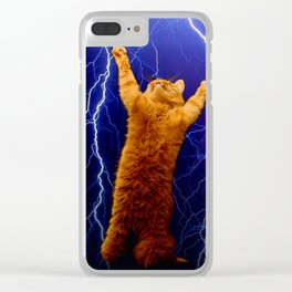 cat Thunders lighting space universe galaxy Clear iPhone Case