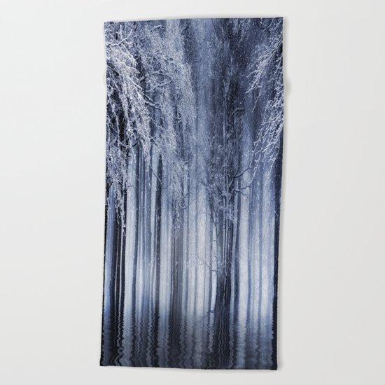 Mystical Winter Lake Beach Towel