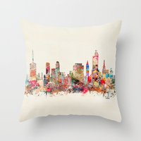oklahoma Throw Pillows featuring tulsa oklahoma by bri.buckley