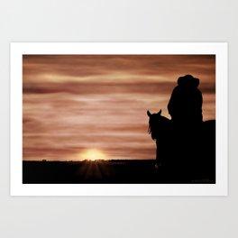 Sunset on Horseback Art Print