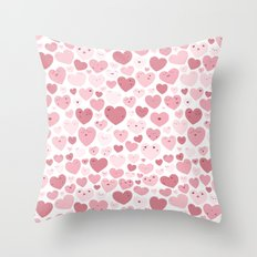 Lovely Hearts Doodle Throw Pillow