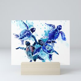 Sea Turtles, Marine Blue underwater Scene artwork Mini Art Print