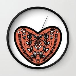 Folk Heart - Orange Wall Clock