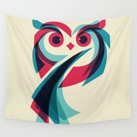 owl Wall Tapestries featuring Owl by Jay Fleck