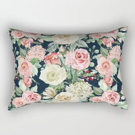 Country chic navy blue pink ivory watercolor floral Rectangular Pillow