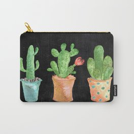 Three Green Cacti On Chalkboard Carry-All Pouch