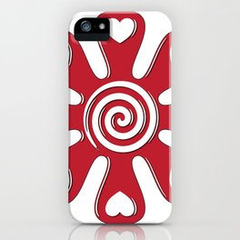 isolated fabric red flower with hearts on leaf  iPhone Case