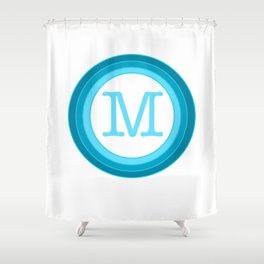 Blue letter M Shower Curtain