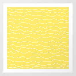 Yellow with White Squiggly Lines Art Print