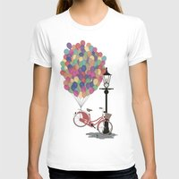 brompton T-shirts featuring Love to Ride my Bike with Balloons even if it's not practical. by Wyatt Design