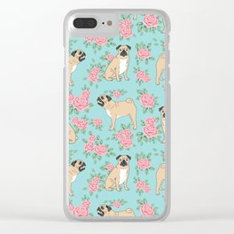 Pug florals pattern minimal modern pet friendly dog breed custom pet art Clear iPhone Case