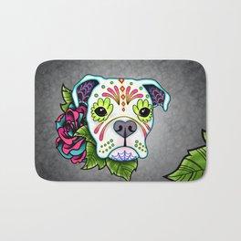 Boxer in White- Day of the Dead Sugar Skull Dog Bath Mat