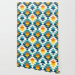 Bohemian large aztec diamonds blue pattern Wallpaper
