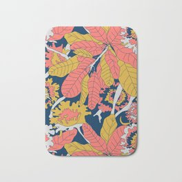 Limited Color Palette Bold Jungle Leaf Floral Bath Mat