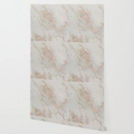 Marble - Rose Gold Marble Metallic Blush Pink Wallpaper