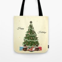 christmas tree Tote Bags featuring Christmas Tree by haroulita