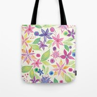 leah flores Tote Bags featuring Flores by JuanaViEs
