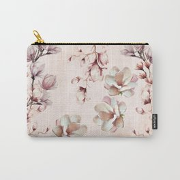 Watercolor Pink Magnolia Blossoms Carry-All Pouch