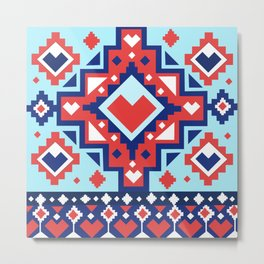 Afghan rug pattern Metal Print