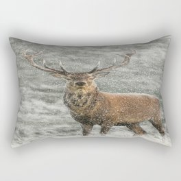 Red Deer Stag in Snow Rectangular Pillow