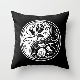 Black and White Yin Yang Roses Throw Pillow