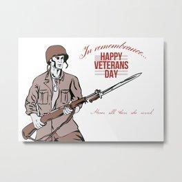 Veterans Day Greeting Card American Soldier Metal Print
